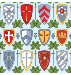 seamless pattern with knightly shields vector image