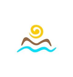 Sun and sea logo vector image vector image