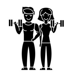 couple in fitness gym icon vector image vector image