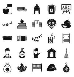 nursery school icons set simple style vector image vector image