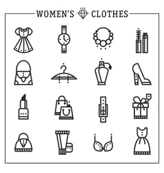 Accessories women icons line vector image