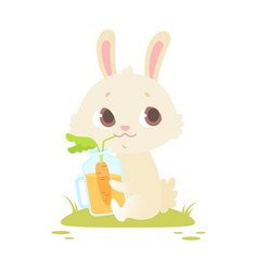 cute baby bunny sitting on a green grass vector image