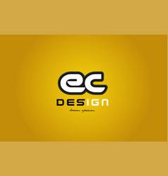 Ec e c alphabet letter combination digit white on vector