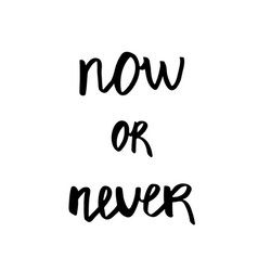 now or never - hand drawn brush text handmade vector image vector image