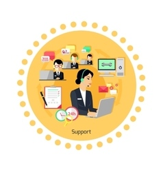 Support Concept Icon Flat Design vector image
