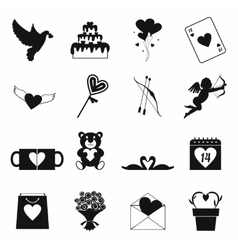 Valentines simple icons set vector image vector image