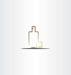 whisky glass and bottle icon vector image