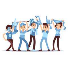 cheering sports fans cartoon people vector image
