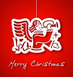 Christmas angel applique background vector