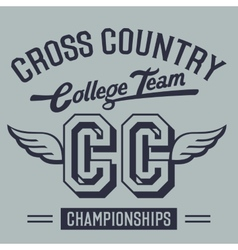 Cross Country College Team t-shirt design vector image