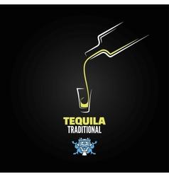 tequila shot bottle glass menu design background vector image vector image