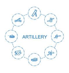 8 artillery icons vector