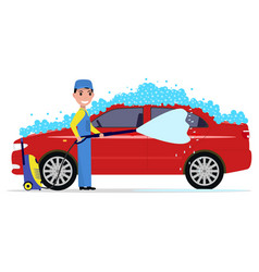 A cartoon man washes a car vector