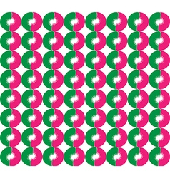 Abstract round flowers Pink and green semi vector