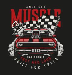 American custom car colorful vintage print vector