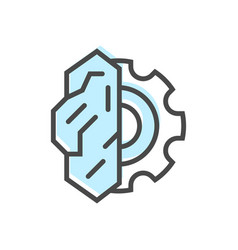 Artificial intelligence icon with brain sign vector