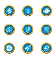 Bacterial intervention icons set flat style vector