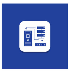 blue round button for combination data database vector image
