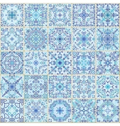 Blue Square Tiles Seamless Pattern vector