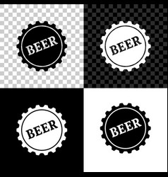 bottle cap with beer word icon isolated on black vector image