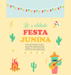 bright poster for festa junina with happy cactus vector image