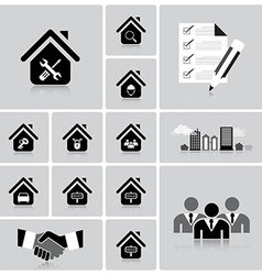Business and real estate icon set vector