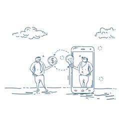 businessman change new idea to money mobile app vector image
