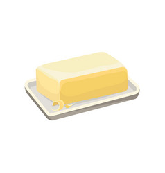Butter on a white plate dairy product cartoon vector