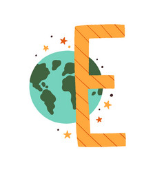 Capital letter e childish english alphabet with vector