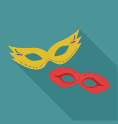 carnival masks flat long shadow design icon vector image
