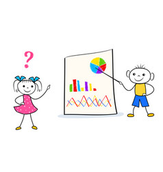 cartoon boy standing near presentation board and vector image