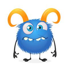 Cartoon crying monster character vector
