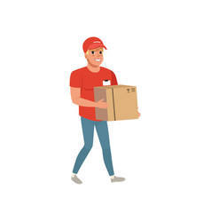 cartoon delivery man carrying cardboard box vector image