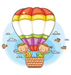 Cartoon kids travelling by air vector