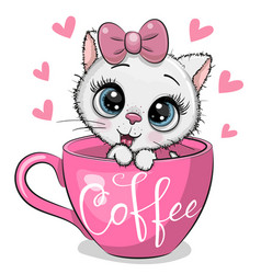 cartoon kitten is sitting in a cup coffee vector image