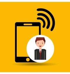 Cartoon man connected smartphone wifi vector