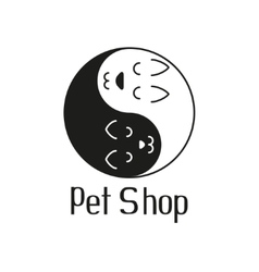 Cat and dog like Yin Yang sign for pet shop vector