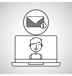 Character draw email inbox technology social media vector