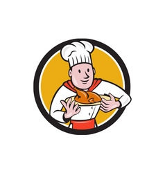 Chef cook roast chicken dish circle cartoon vector