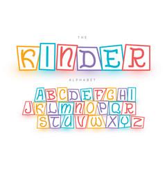 Childish handwriting hand drawn colorful font set vector