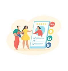 Choosing basitter in mobile application family vector