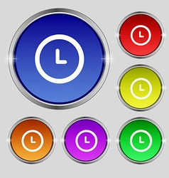 Clock icon sign Round symbol on bright colourful vector