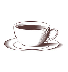 coffee cup in engraved style vector image
