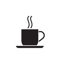 coffee cup with a plate black vector image