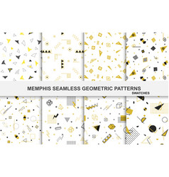 Collection retro geometric patterns with mosaic vector