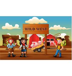 cowboy wild west cartoon with animal in farm entra vector image