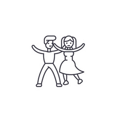 dancing couple line icon sign vector image