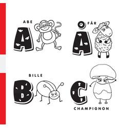 Danish alphabet monkey sheep beetle mushroom vector