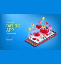 Dating app site landing with abstraction mobile vector