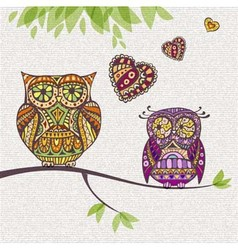 Decorative owl Couple and love vector
